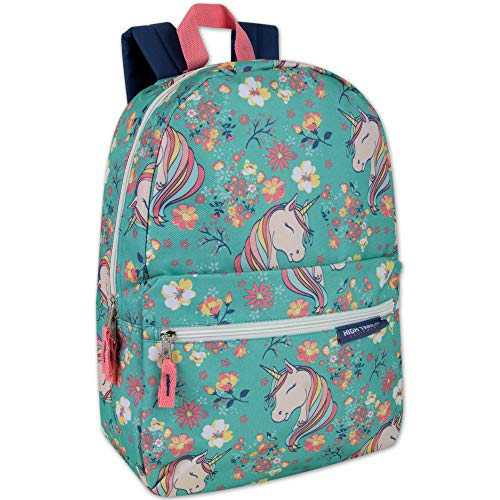 Trail maker Girls' All Over Printed Backpack with Padded Straps (Unicorn Garden)