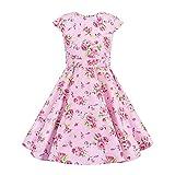 FYMNSI Vestido vintage de los años 50, rockabilly, vestido de fiesta, retro, de lunares, línea A, falda plisada, hasta la rodilla, para 4-12 años Flores rosas. 11-12 Años