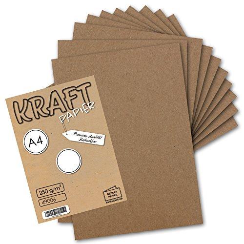 50x Vintage Kraftpapier - DIN A4 21 x 29,7 cm - 210 x 297 mm - 250 g/m² natur-braunes Recycling-Papier, 100% ökologisch Bastel-Karton Einzel-Karte I UmWelt by GUSTAV NEUSER®