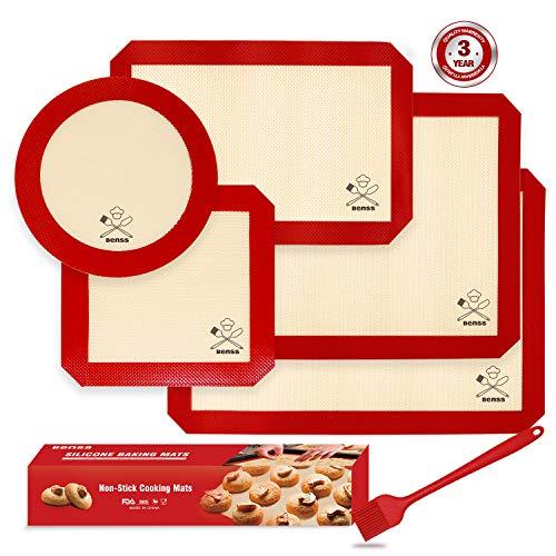 6PCS Silicone Baking Mats, 2 Half Sheets Mats + 1 Quarter Sheet Liner + 1 Round + 1 Square Cake Pan Mat + 1 Silicone Baking Brush- 100% Food Safe Silicone & Non-Stick,For Baking Cake Cookie