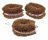 Pack of 3 Japanese Tawashi Brushes for Cleaning Fruits & Vegetables & Other Household Cleaning 1 Brass Plated Cup Hook is Included to Hang The Brush On After Use