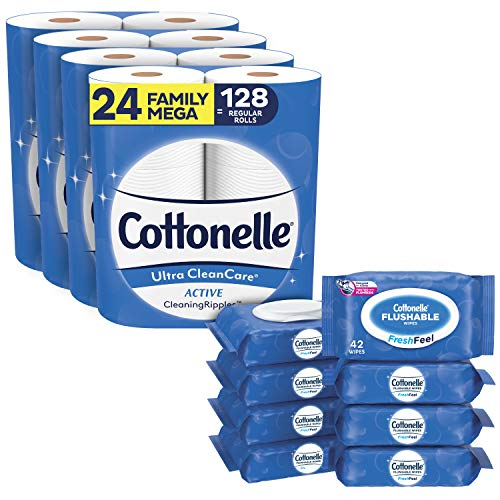 Toilet Paper & Flushable Wipes Bundle Pack, Cottonelle Ultra CleanCare Toilet Paper (24 Family Mega Rolls) + FreshFeel Flushable Wet Wipes for Adults (8 Flip-Top Packs, 336 Total Wipes)