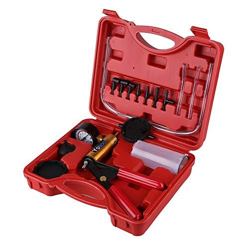 Zerone Vakuumpumpe, Bremsenentlüfter Vakuumtester Set Vakuum Tester mit Manometer Bremsenentlüftung Bremse tragbar Handheld Vakuum Tester