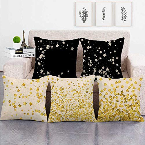 HUASHUZI 5 Pieces Pillow Cover Durable Star black yellow Linen Square Cushion Case(Without core) For Decorative Sofa Back Throw Cushion Car Waist Pillows Cover Home Office 18x18 Inch