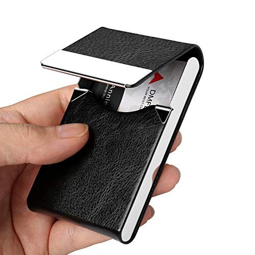 DMFLY Professional Business Card Holder Business Card Case Leather Stainless Steel Card Holder, Slim Card Case for Women and Men, Magnetic Shut, Hold Up to 25 Cards, Black -SJ