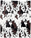 Home Soft Things Cow Print Blanket Throws Animal Black White Brown Throw for Chair Bedroom Living Room Sofa Couch Bed Outdoor Double Sided Faux Fur Fleece Soft Cozy Throw Blanket, 50' x 60'
