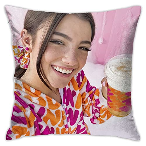 KINGAM Funda de almohada suave y cómoda Charli D-Amelio para decoración del hogar, fundas de almohada de 45,7 x 45,7 cm, para sala de estar, dormitorio, sofá, coches