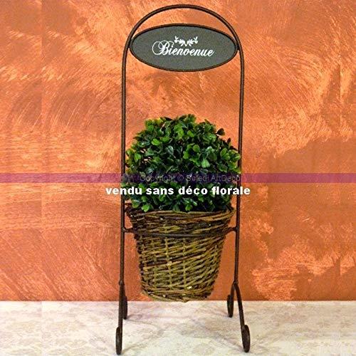 Country Casa bloempot van wilgentenen in metalen standaard, 15 x 18,5 x 41 cm