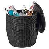 Nuzanto 36L/9.5 Gallon Ice Barrel Beer and Wine Cooler with Handgrips Plastic Resin Outdoor Patio Bar Side Table with Extra Hidden Storage for Cushions Patio Picnic Beach Hot Tub Accessories (Black)