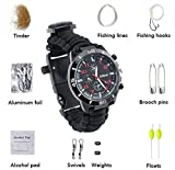 Survival Armband, Camping Watch mit multifunktionalen Outdoor Survival-Kits inkl. Paracord, Kompass,...