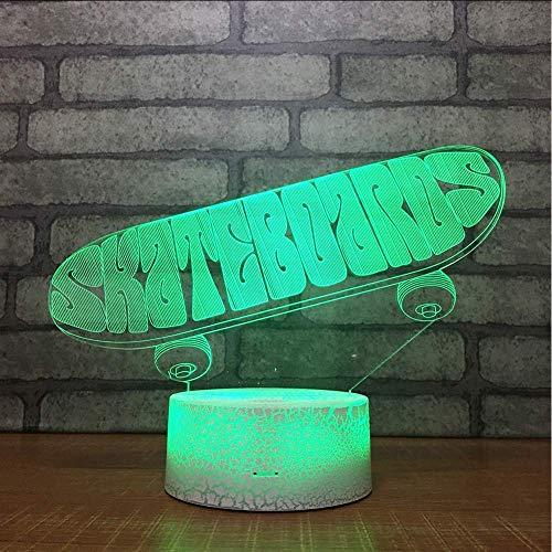 Skateboard 3D Small Night Desk Lamp Licht Acryl Geschenken Originaliteit Led Bedkant Kleurrijke Witte Basis Mooie Tafellampen