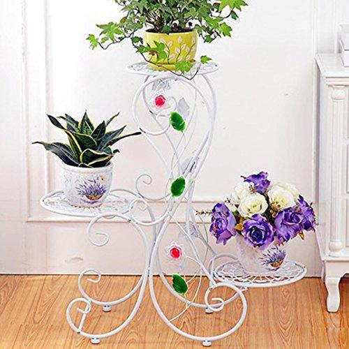 QFF Balcon à plusieurs étages style européen en fer de fer cadre en bois plancher - style créatif pots rayons de fleurs de radis verts