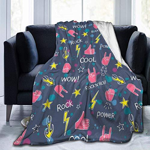 LOVE GIRL Hands Rock and Roll Signs Ultra-Soft Micro Fleece Sofa Blanket Todas Las Estaciones Peso Ligero Sala de Estar/Dormitorio Manta cálida