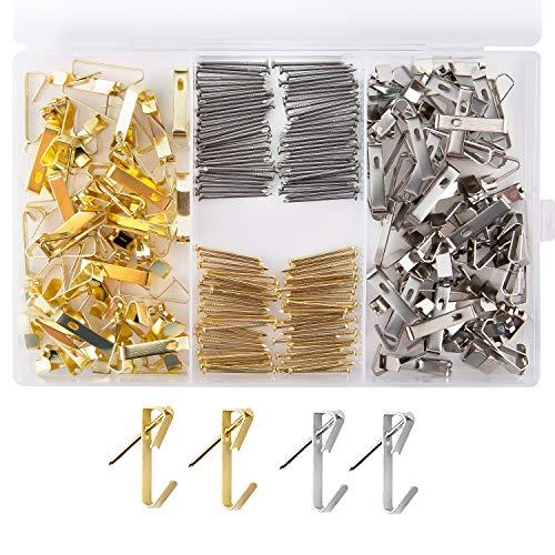 LUTER 200 Piezas Surtido Kit De Colgadores De Cuadros Metal Ganchos Para Cuadros Clavos Para Montaje En Pared Ganchos De 30 Lb Para Colgar Marcos Frame(oro, plata)