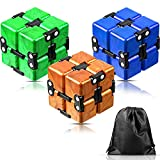 3 Pieces Infinity Cube Infinite Fidget Toy for Stress and Anxiety Relief Sensory Tool Game Supplies (Ruby Color)