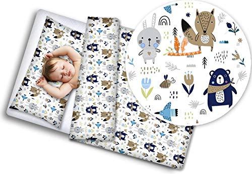 BABYMaM Bed Linen 80 x 70 cm Baby Set 2-Piece for Pram Cradle Cotton (Boho Animals)