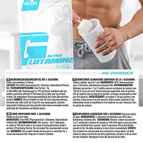 BWG Ultra Glutamine, L-Glutamin Pulver, Muscle Line, 1er Pack (1 x 1000g Beutel) - 4