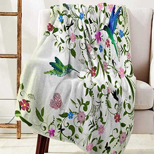 Manta Para Cozy Warm Reversible Throw Blanket Flores, hojas verdes y pájaros Blanket 125 X 100CM
