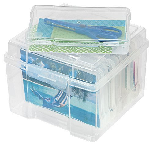 """IRIS USA, Inc. 5"""" x 7"""" 6 Inner Keeper Organizer Cases Storage Containers Box for Photos, Clear-S 