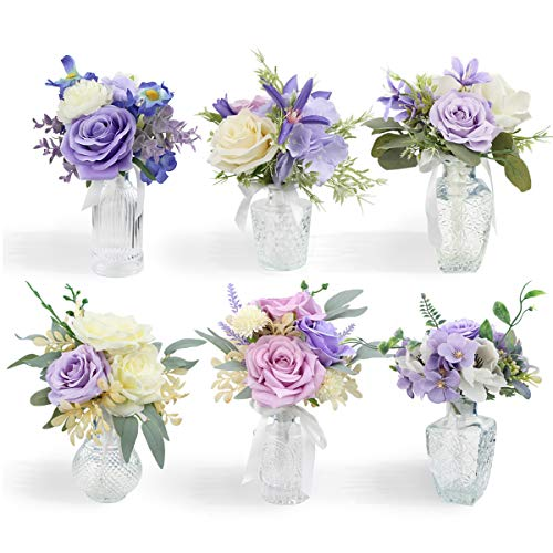 Rinlong Set of 6 Flower Centerpieces for Wedding Table Lavender Purple Flowers Mini Flower Bouquets for Wedding Ceremony Baby Nursery Shelf Dining Table Decor