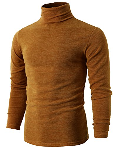 H2H Mens Fashion Cable Knit Turtleneck Long Sweater Mustard US M/Asia XL (KMTTL028)
