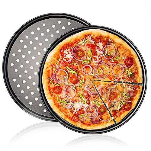 WENTS Juego de 2 bandejas para pizza redondas, perforadas, antiadherentes, acero al carbono, diámetro de 32 cm