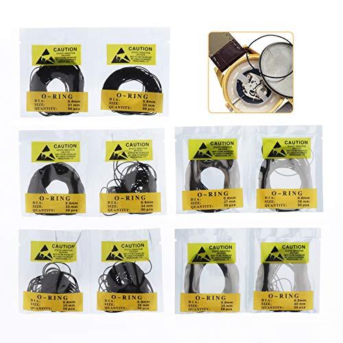 Homyl 500 Stücke Wasserdicht Dichtungsring Dichtungen Set Gummi Ringe Runde Gummiring für Armbanduhr, Schwarz (31-40mm, 0.8mm)
