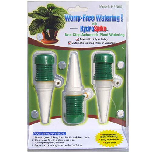 HydroSpike HS-300 (3-Pack) Worry-Free Automatic Plant Watering Devices Kit. Self Auto Waterer Spikes, Bulbs, Stakes Irrigation System for Indoor House Plants, Vacation. No Glass Globe Bottle, Jug, Can