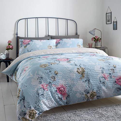 Gaveno Cavailia Premium Seersucker Duvet Cover Quilt & Pillowcases, Floral Easy Care Bed Set, Kingsize, Duck Egg