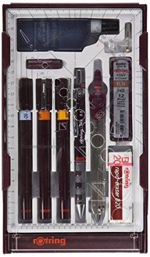 rOtring rapidograph Master Set - Juego de estilógrafos con compás, 3 unidades, 0,2/0,4/0,6