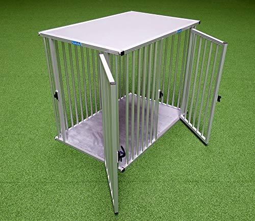 Callieway® ALU DOGBOX/Hundebox/ALU Hundkäfig für Büro und Daheim (nur vertikale Stäbe) (XXXLarge: 119cm (L), 76cm (B;Türseite), 96cm (H))