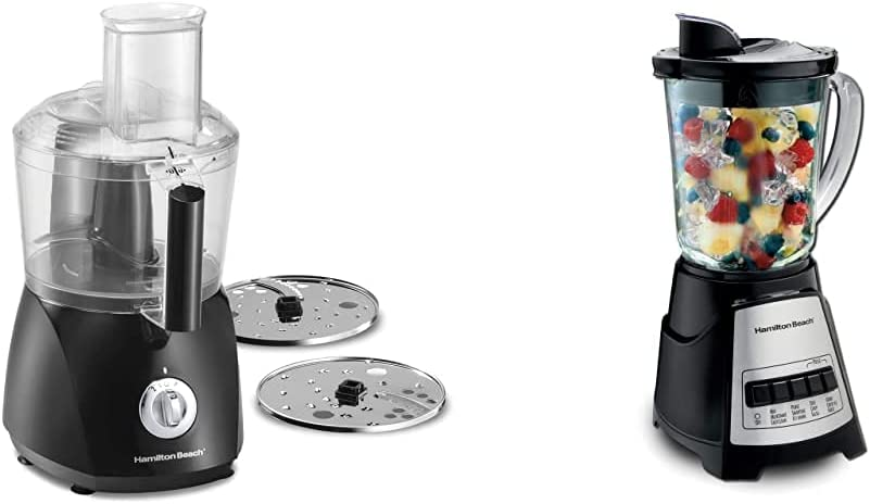 Hamilton Beach ChefPrep 10-Cup Food Processor & Vegetable Chopper, Black (70670) & Power Elite Blender with 12 Functions and 40 Oz BPA Free Glass Jar, Black and Stainless Steel (58148A)