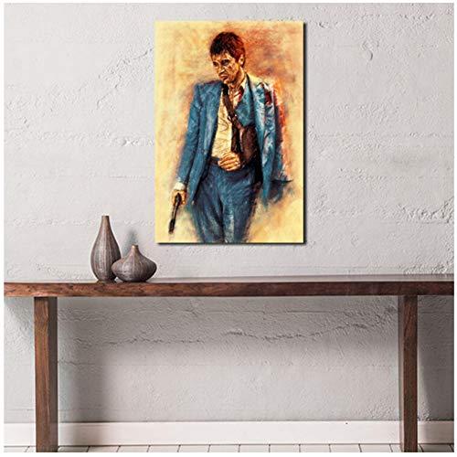 Tony Montana Classic Movie muurkunst canvas poster en druk canvas schilderij olie decoratieve afbeelding slaapkamer wooncultuur kunstwerk geen lijst 60 x 80 cm.