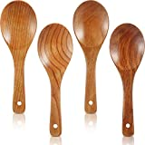 4 Pieces Wood Spoons 9 Inch Wooden Rice Paddle Versatile Serving Spoon Nonstick Heat Resistance Cooking Spoon for Kitchen Cookware