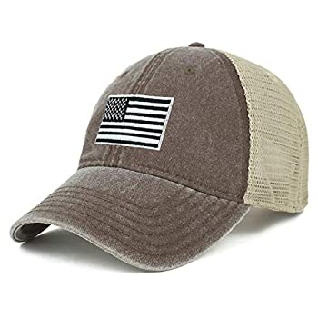 Armycrew Oversize XXL Grey American Flag Embroidered Washed Trucker Mesh Cap - Brown - 2XL
