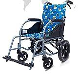 YIQIFEI Silla de Ruedas propulsada por un Asistente para niños con Soporte para Las piernas Movilidad Silla de Ruedas de Viaje Plegable de Aluminio liviano y Plegable (Silla)