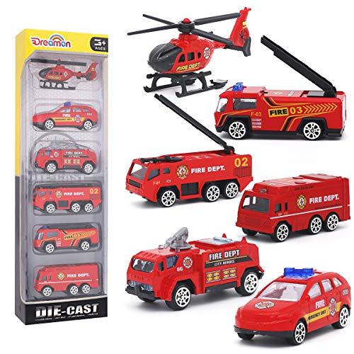 Mini Camion dei Pompieri Modelli Costruzione Veicoli Giocattolo per Bambini Ragazze e Ragazzi Decorazioni per Torta, Set di 6