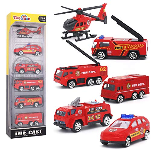 Dreamon Spielzeugautos Feuerwehrauto Fahrzeuge Feuerwehrmann Spielzeug Set Mini Cars für Kinder ab 3 Jahren,6 Pcs