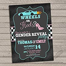 Wheels or Heels Gender Reveal Invitations (Set of 10) Envelopes Included Personalized