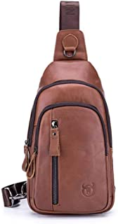 Men's Leather Shoulder-slung Chest Bag, Top Layer Leather Multi-function Sports And Leisure Chest Bag, Large-capacity Waterproof Anti-theft Wallet