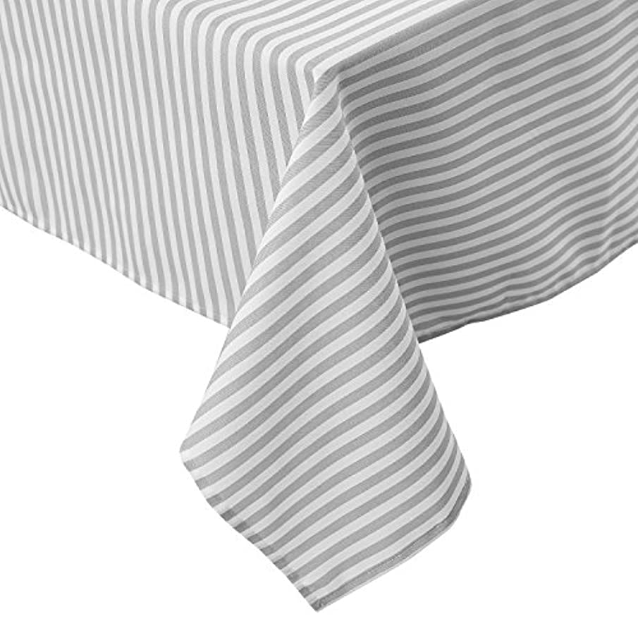 Deconovo Modern Striped Pattern Rectangular Tablecloth Water Resistant and Spill-Proof Tablecloths for Outdoor Picnic 54 x 72 Inch White and Light Grey 2 Pcs