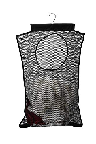 Dearjana Door-Hanging Mesh Laundry Hamper Bag, Space Saving Corner Small Laundry Basket Dirty Clothes Hamper with Rotating Metal Hanger for Apartment, RV, Camper, Cabin, College Dorm Use(Black)
