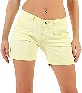 Elogoog Clearance Womens Casual Solid Shorts Wide Leg Ladies Pockets Button Short Pants,S-5XL
