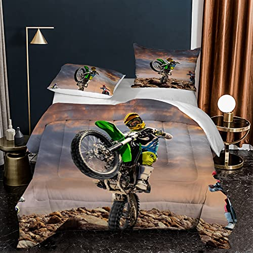 LXTOPN - Juego de cama para moto, 3D, diseño de motocross, carreras, funda de edredón de microfibra de calidad superior con cremallera, para niños (G, 140 x 210 cm)