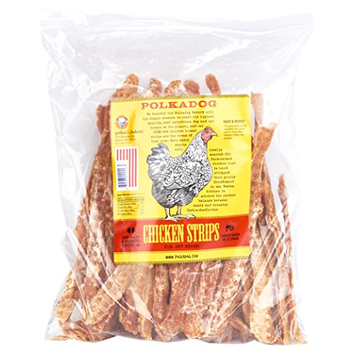 Polkadog Chicken Strip Jerky Dog Treats, Cat Snacks - All-Natural Pet Snacks for Dogs, Cats - Healthy Puppy Treats- 100% USA Chicken Breast -  Meaty Treat for Pets – 2 lb.