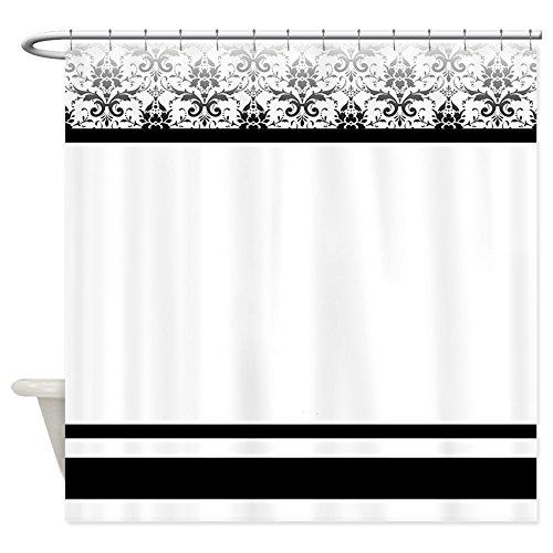 "CafePress Black and White Damask Decorative Fabric Shower Curtain (69""x70"")"