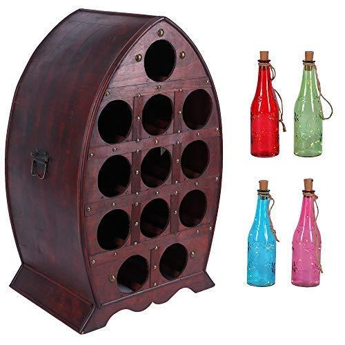 Vino Botellero para 12 Botellas de Soporte Hecho Madera Contrachapada Portavinos Estilo Colonial Estantería 65cm Alto Diseño con Cadena Luces Led 4 Colorido Glasflschen 25cm