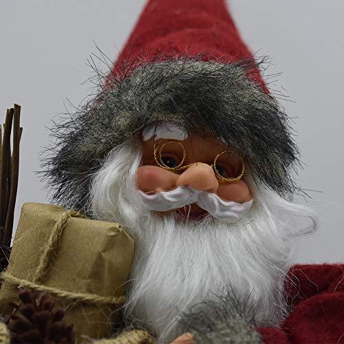 DUESSE Babbo Natale da Puntale per Albero di Natale 40CM Decorazioni addobbi Natalizie Rifiniture spettacolari