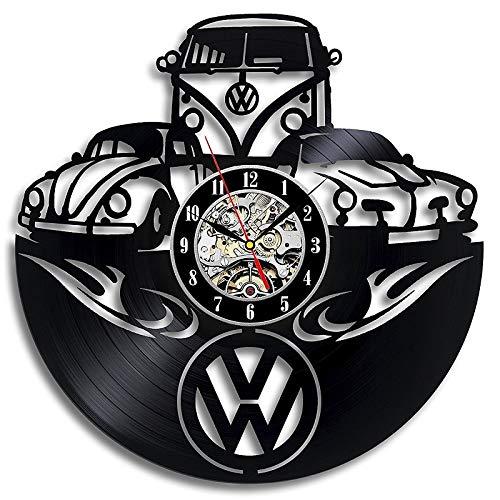 wtnhz LED-Reloj de Pared con Registro de Vinilo con Logotipo de Coche, Reloj Decorativo único de diseño Moderno, Reloj de Pared con CD, Reloj de Pared 3D, Gran Oferta 2019