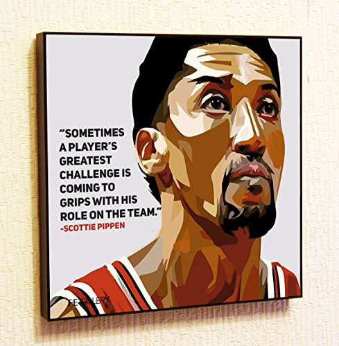 Scottie Pippen NBA Backetball Motivational Quotes Wall Decals Pop Art Gifts Portrait Framed Famous Paintings on Acrylic Canvas Poster Prints Artwork Geek (10x10 (25.4cm x 25.4cm))